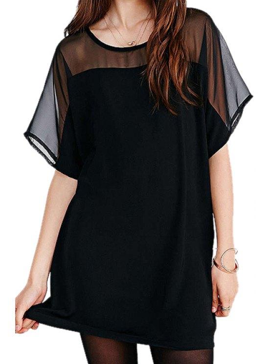 outfit Chiffon Spliced Short Sleeve Dress - BLACK XS