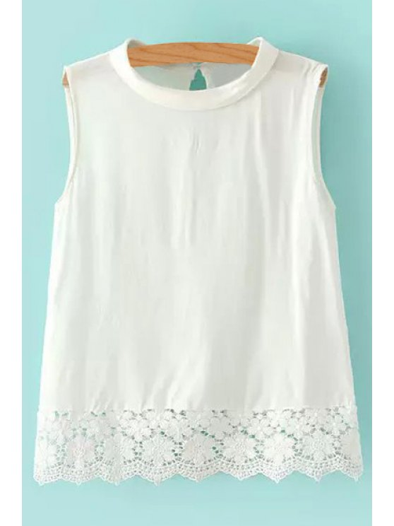 best Solid Color Lace Splicing Sleeveless Tank Top - WHITE S