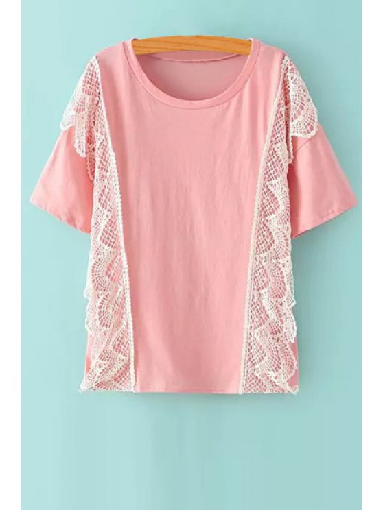 affordable Scoop Neck Lace Splicing T-Shirt - PINK ONE SIZE(FIT SIZE XS TO M)