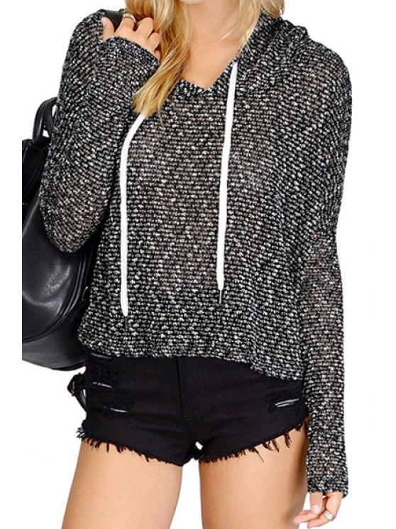 ladies Black Hooded Long Sleeve Hoodie - BLACK XS