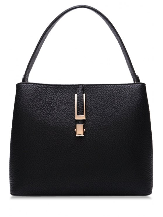 buy PU Leather Metallic Embossing Tote Bag - BLACK