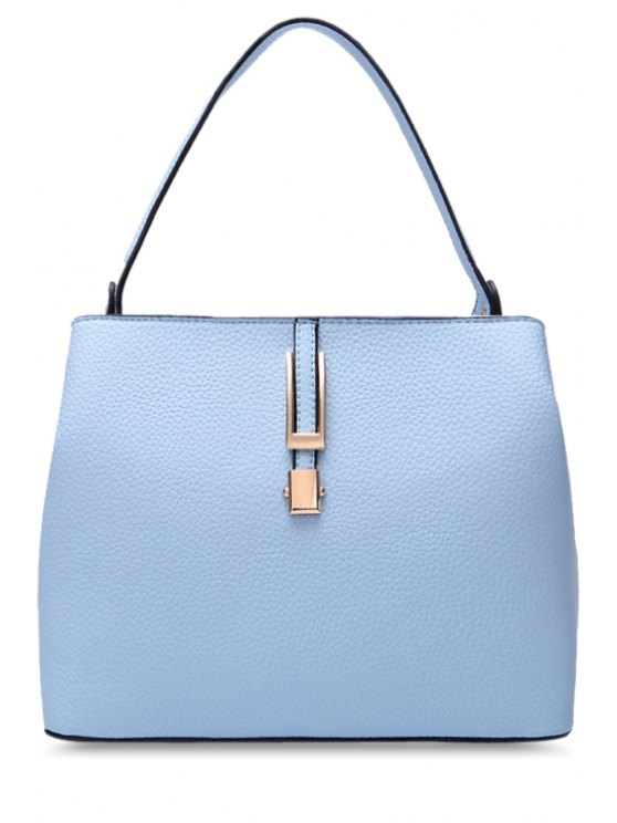 ladies PU Leather Metallic Embossing Tote Bag - BLUE