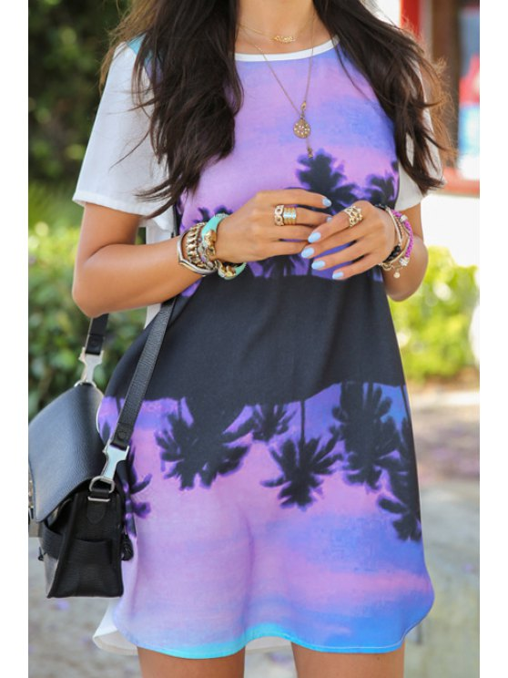 chic Scoop Neck Floral Print Mini Dress - PURPLE M
