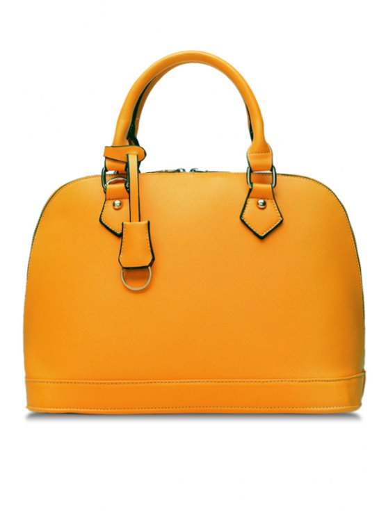 online Solid Color Pendant Zipper Tote Bag - YELLOW