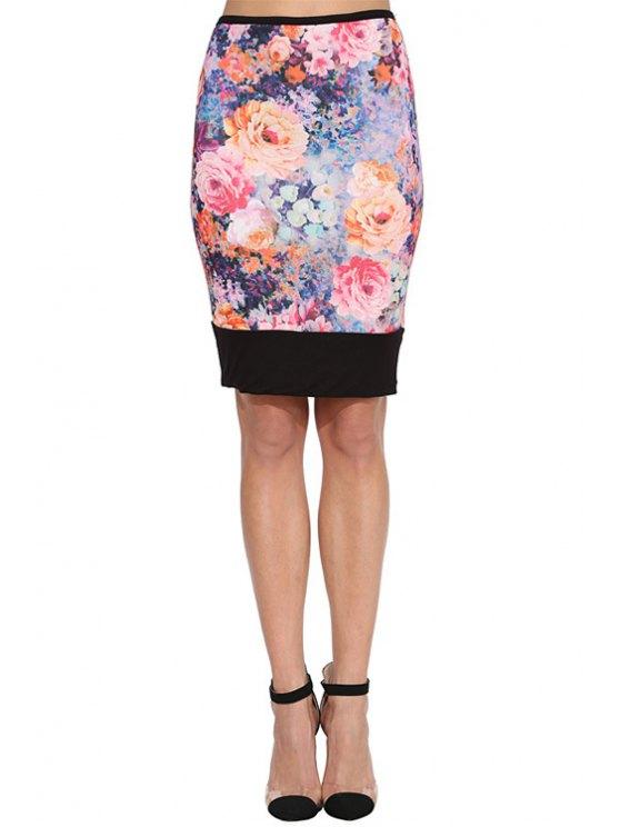 trendy Flowers Print Bodycon Skirt - COLORMIX XS