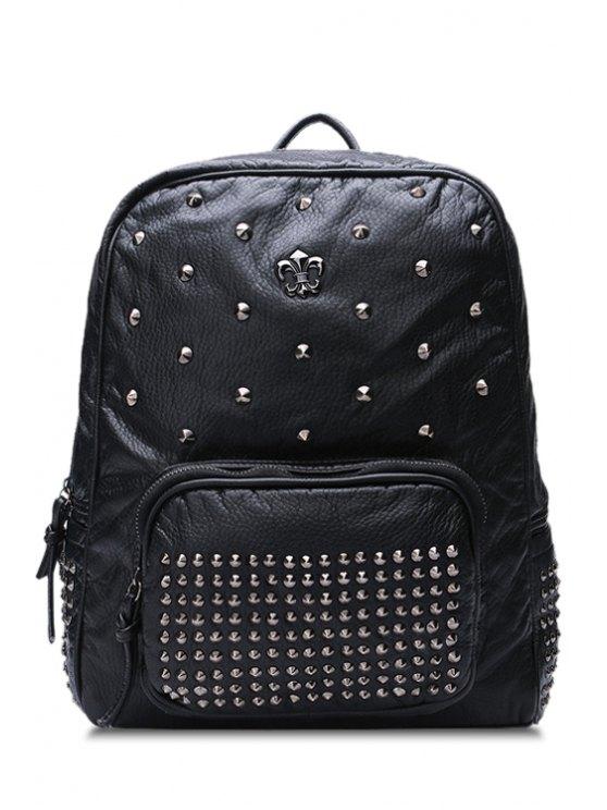 sale Black Rivets PU Leather Zipper Satchel - BLACK