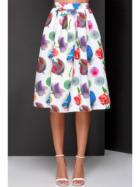 womens Full Flower Print A Line Midi Skirt - AS THE PICTURE XS