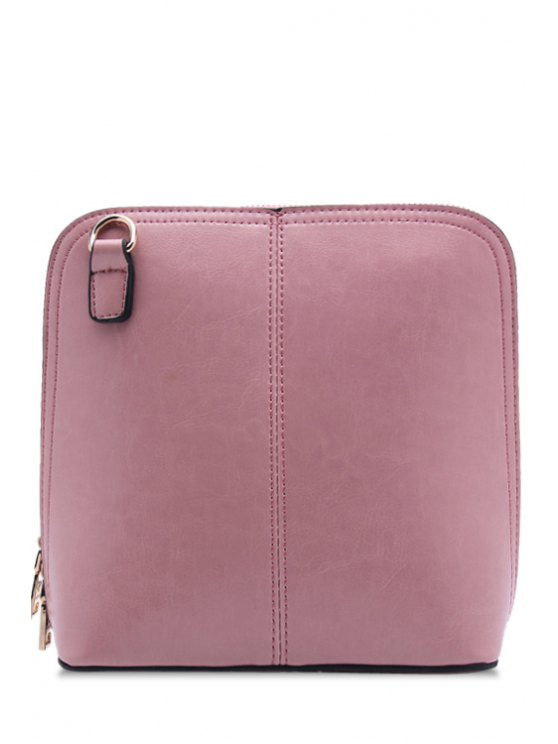 buy Stitching Solid Color Zipper Crossbody Bag - PINK