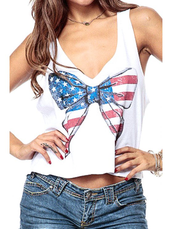 affordable Bowknot Print Backless Tank Top - WHITE XS