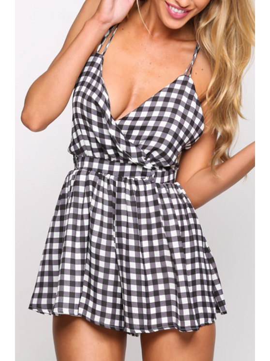 trendy Checked Backless Spaghetti Straps Romper - CHECKED XS