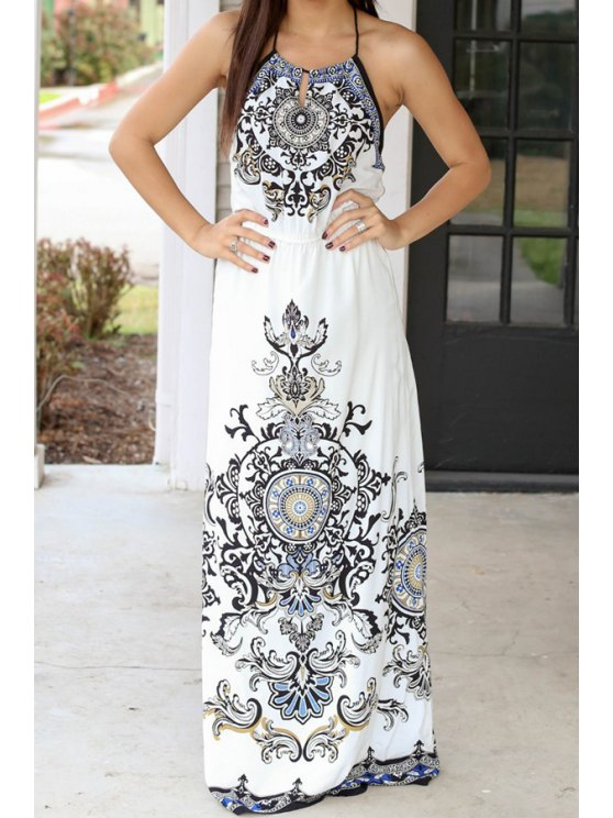 best Spaghetti Strap Abstract Print Sleeveless Maxi Dress - WHITE S