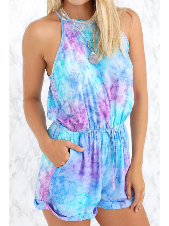 ladies Tie-Dyed Print Spaghetti Strap Backless Romper - WATER BLUE XL