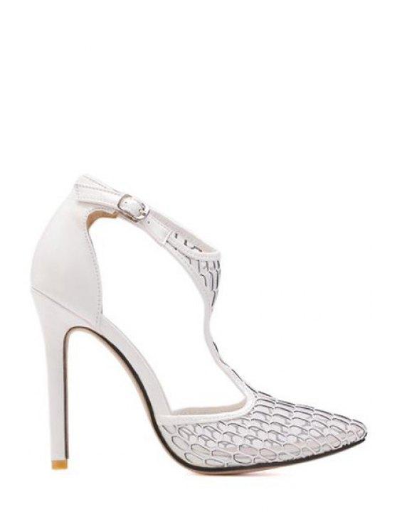 lady Mesh Stiletto Heel Pointed Toe Pumps - WHITE 38