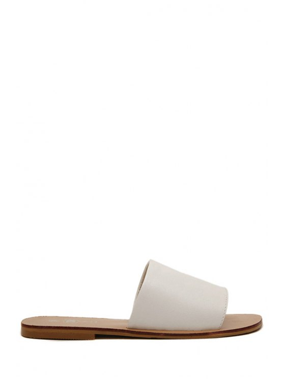trendy Solid Color Pu Leathaer Flat Slippers - WHITE 38