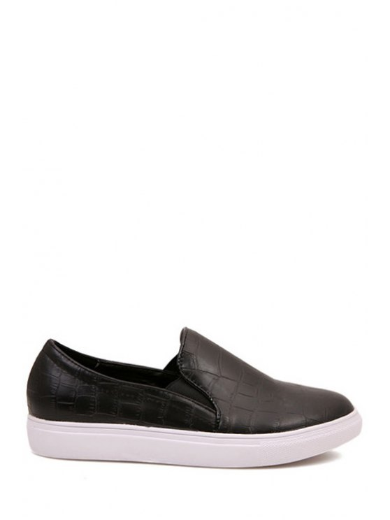 affordable Black Snake Print Round Toe Flat Shoes - BLACK 37
