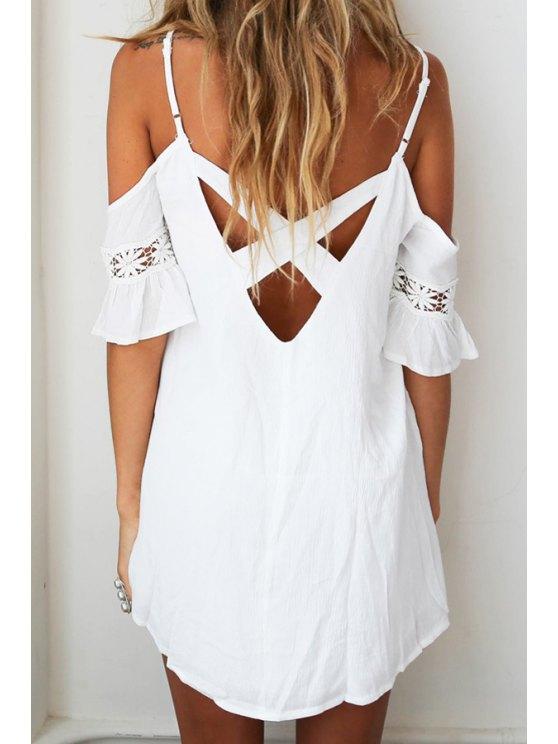 buy Spaghetti Strap Solid Color Mini Dress - WHITE S