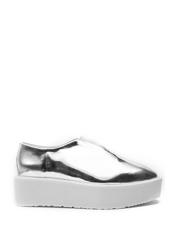 latest Square Toe Elastic PU Leather Platform Shoes - SILVER 35