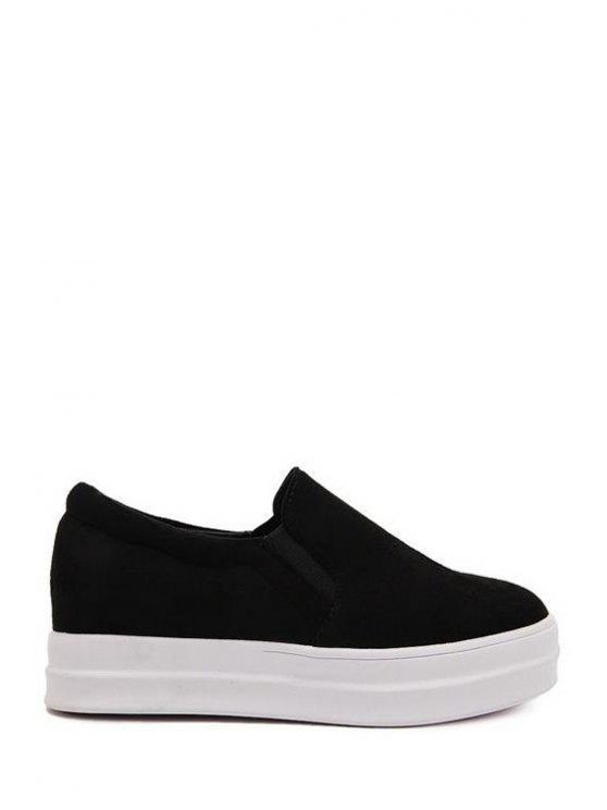 fancy Round Toe Suede Solid Color Platform Shoes - BLACK 37