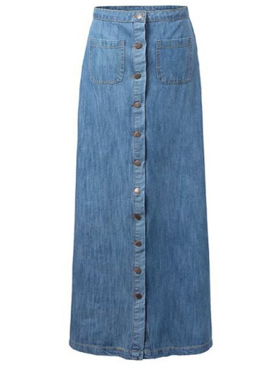 lady Single-Breasted Bleach Wash Denim Long Skirt - BLUE S