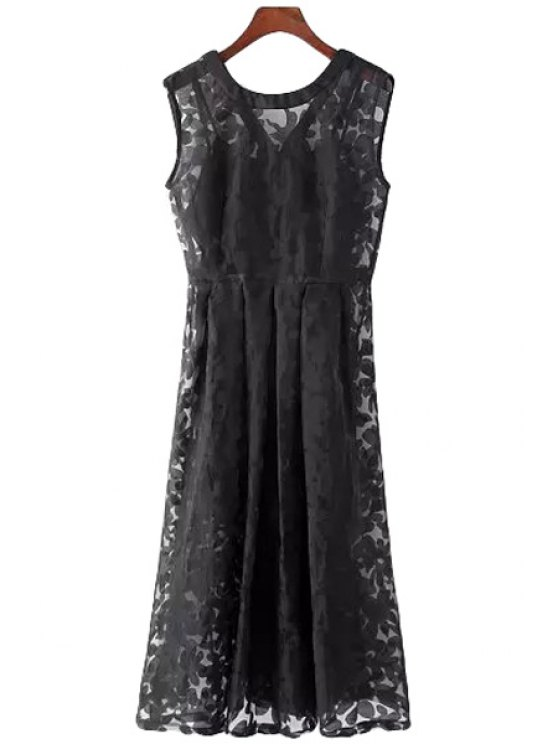 buy See-Through Print Sleeveless Dress + Tank Top - BLACK M