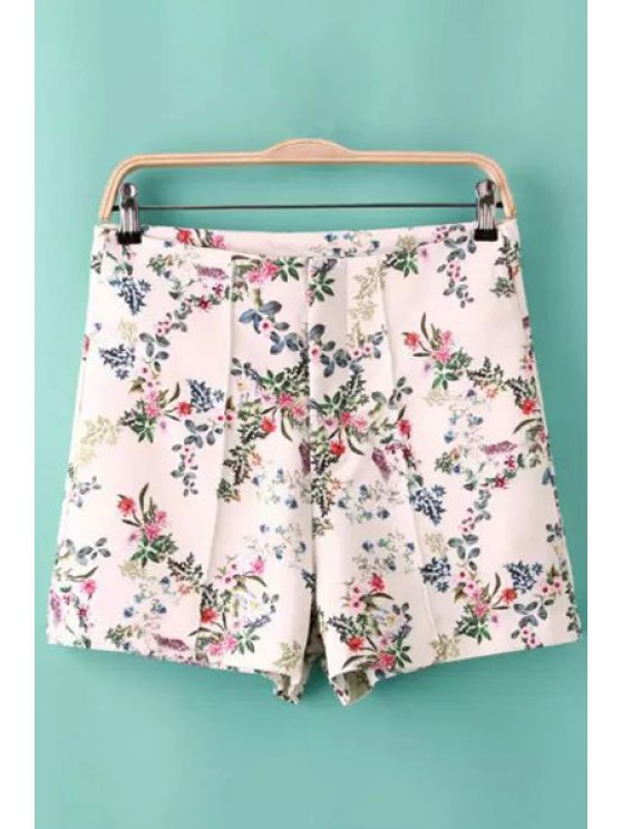 new Tiny Floral Print Zipper Fly Shorts - AS THE PICTURE S