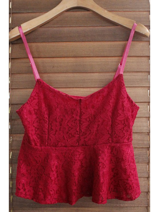 shops Spaghetti Strap Solid Color Ruffled Lace Tank Top - WINE RED ONE SIZE(FIT SIZE XS TO M)