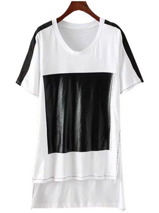 women Black Print High Low Short Sleeve T-Shirt - WHITE XS