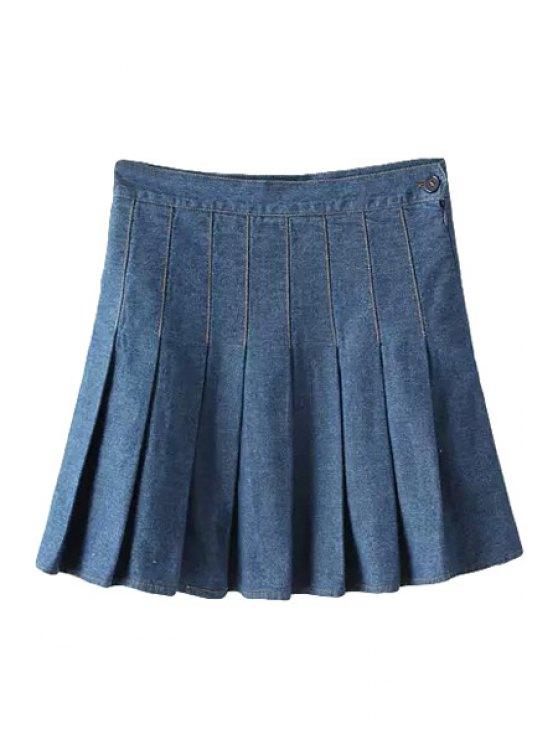 shops Bleach Wash Zipper Fly Denim Pleated Skirt - DEEP BLUE S