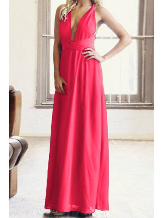 trendy Solid Color Plunging Collar Maxi Dress - ROSE S