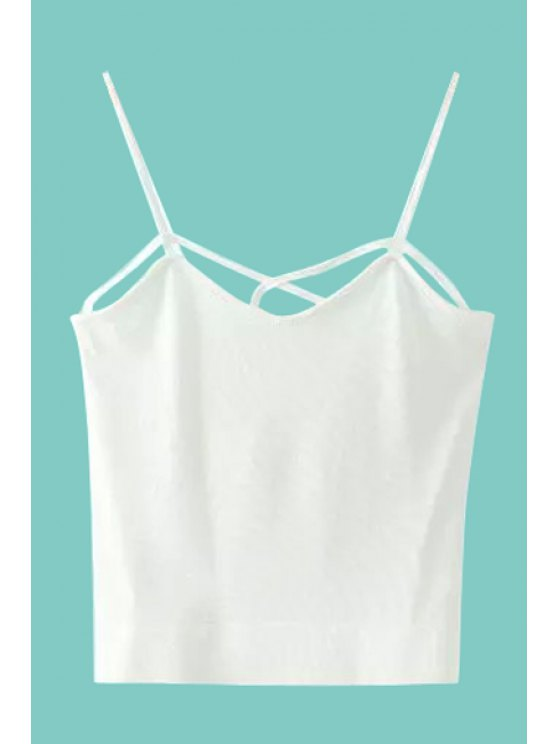 hot Sexy Style Spaghetti Strap Solid Color Crop Top For Women - WHITE ONE SIZE(FIT SIZE XS TO M)
