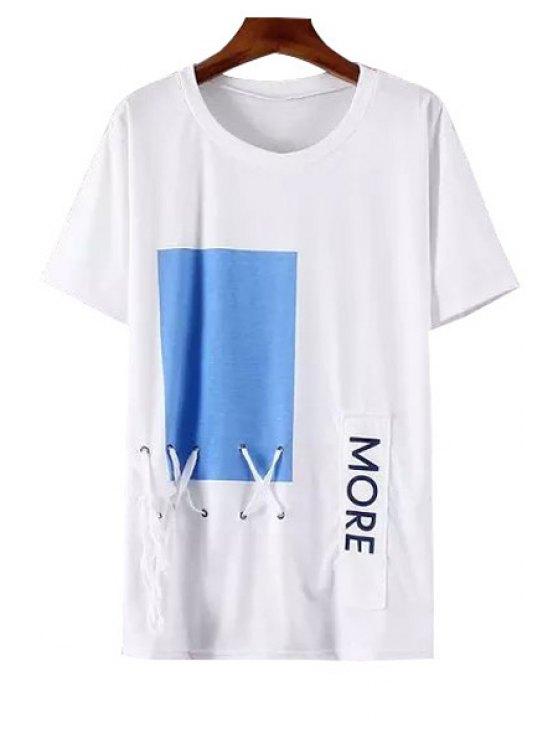 shops Blue Print Letter Applique Cross Tie-Up T-Shirt - WHITE ONE SIZE(FIT SIZE XS TO M)