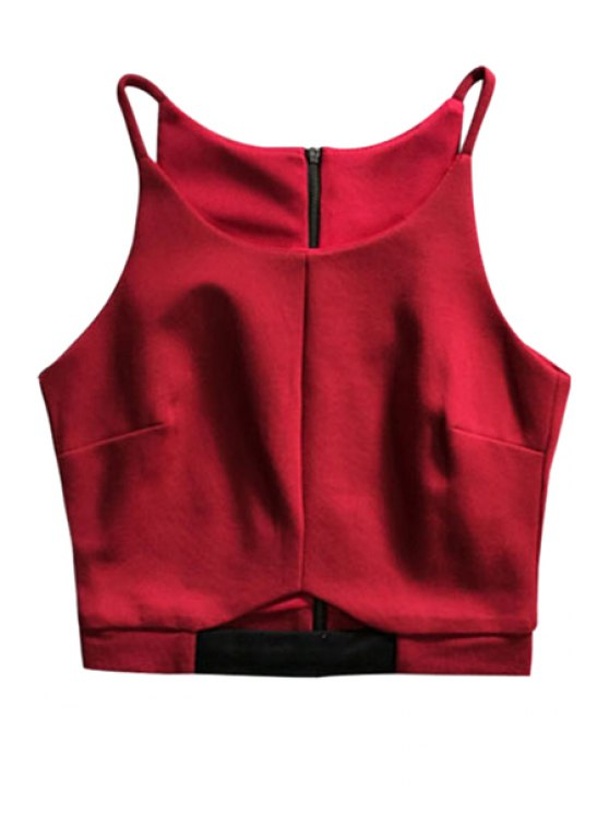 women's Spaghetti Strap Solid Color Zippered Crop Top - WINE RED ONE SIZE(FIT SIZE XS TO M)