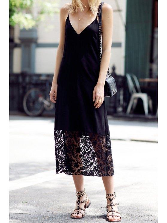 fancy Lace Spliced Black Spaghetti Strap Dress - BLACK S