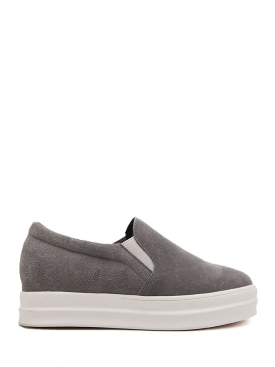 online Elastic Suede Round Toe Platform Shoes - GRAY 35