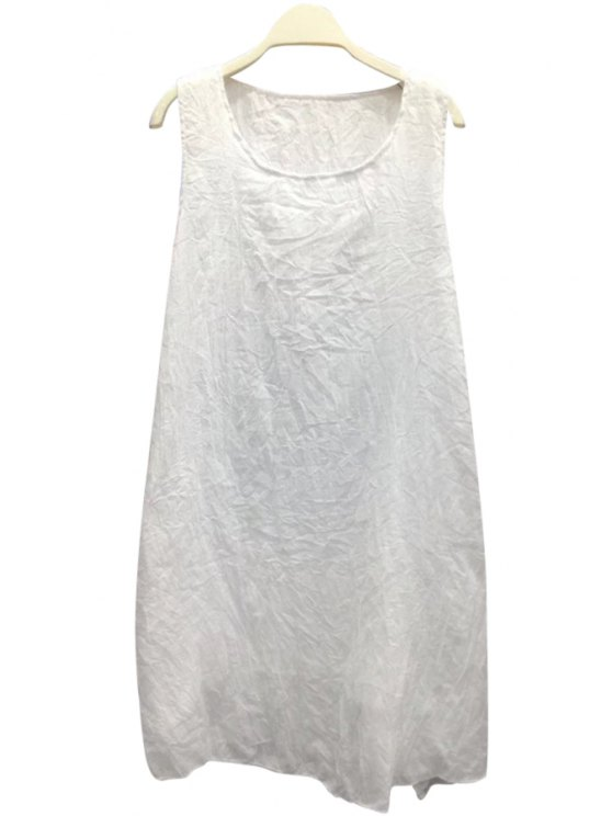 shops Scoop Neck Solid Color Sundress - WHITE ONE SIZE(FIT SIZE XS TO M)