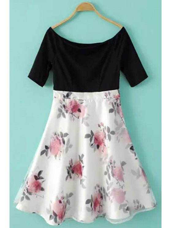 unique Floral Spliced Short Sleeve A Line Dress - BLACK AND WHITE AND RED S