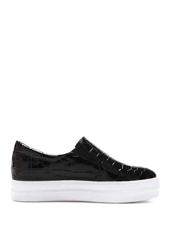 fashion Crocodile Print Patent Leather Platform Shoes - BLACK 38