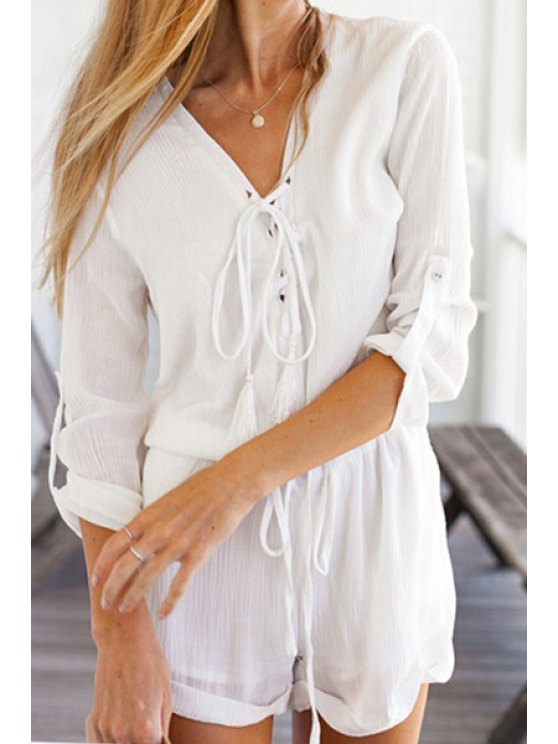 online Three Quarter Sleeve Solid Color Lace-Up Romper - WHITE S