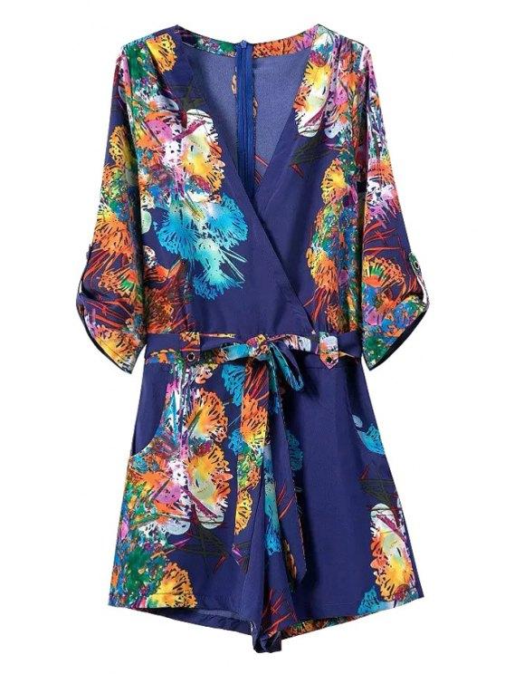unique V-Neck Color Block Floral Print Tie-Up Romper - BLUE S