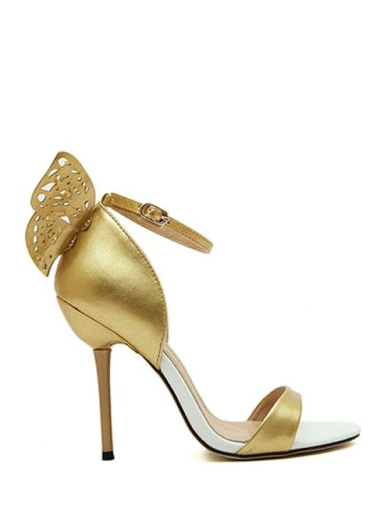 trendy Engraving Butterfly Stiletto Heel Sandals - GOLDEN 36