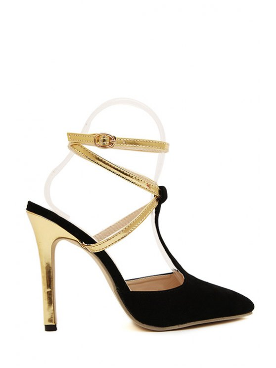 outfit Color Block Pointed Toe Suede Sandals - BLACK 35