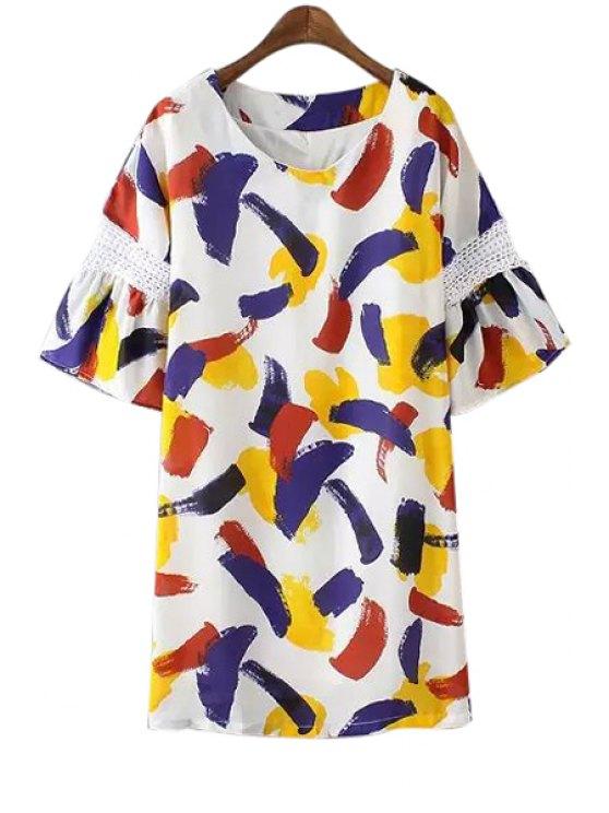 women's Colorful Print Half Sleeve Dress - COLORMIX S