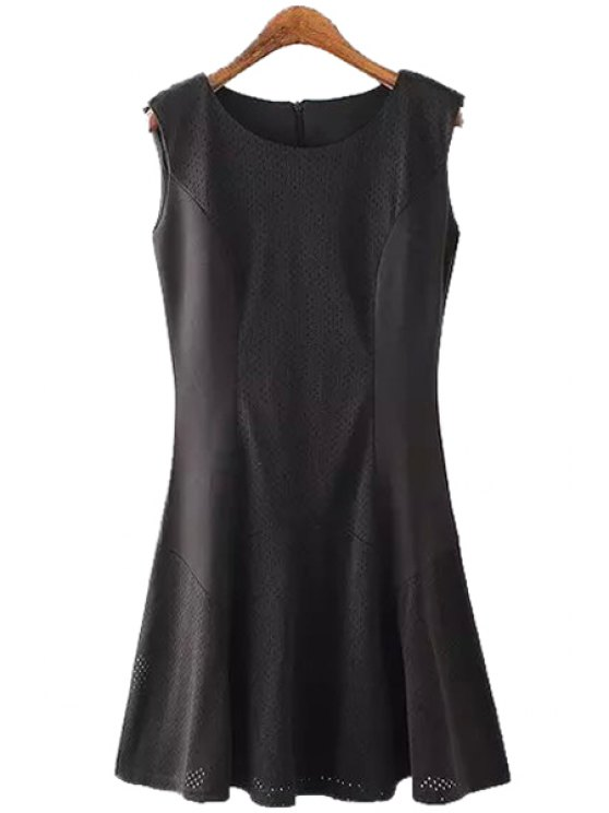 unique Black Scoop Neck Flare Sundress - BLACK S