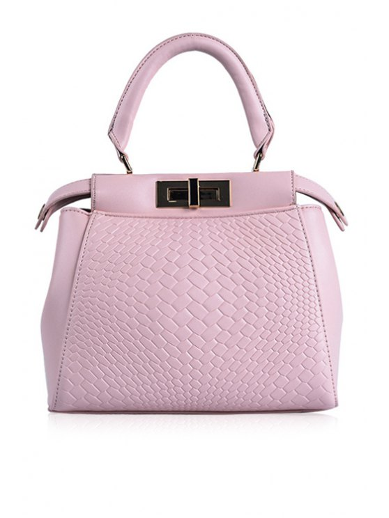 latest Embossing Candy Color Hasp Tote Bag - PINK