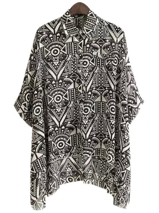 fancy Geometric Print 3/4 Sleeve Shirt - BLACK ONE SIZE(FIT SIZE XS TO M)