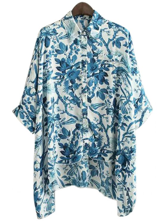 best Blue Floral Print 3/4 Sleeve Shirt - BLUE ONE SIZE(FIT SIZE XS TO M)