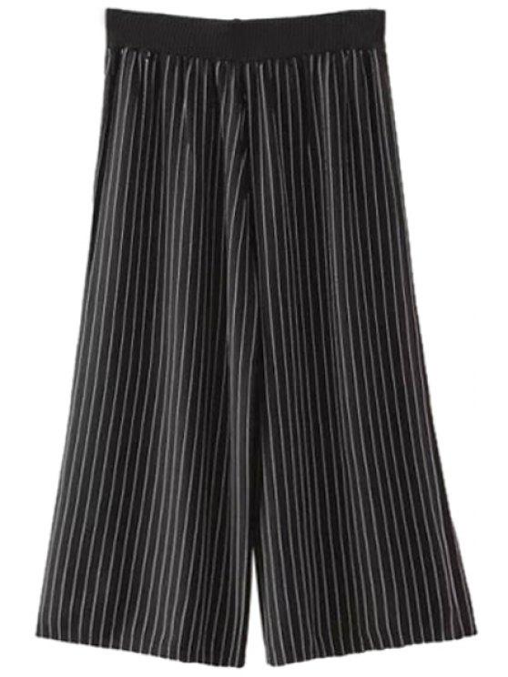 best Stripes Wide Leg Capri Pants - BLACK ONE SIZE(FIT SIZE XS TO M)