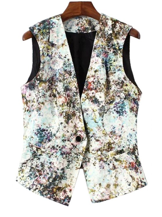 new Tiny Floral Print Sleeveless Waistcoat - AS THE PICTURE S