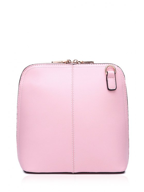 fancy Solid Color Zipper PU Leather Crossbody Bag - PINK