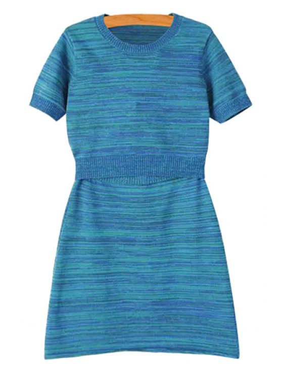 shops Striped Short Sleeve T-Shirt and A Line Skirt Suit - BLUE S